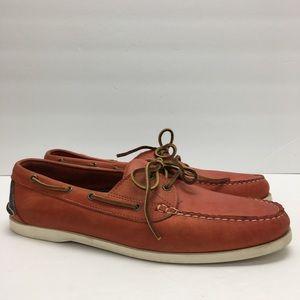 Ralph Lauren Orange Leather Boat Shoes